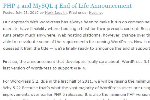 PHP 4、MySQL 4 サポート終了のお知らせ